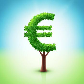Baumkrone mit Blättern als Euro-Zeichen