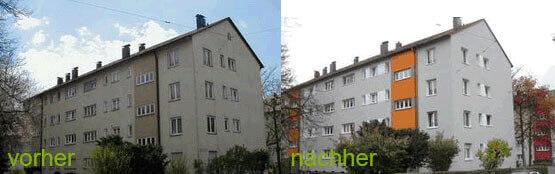 Bild von einem Mehrfamilienhaus mit energetische Sanierung vorher und nachher