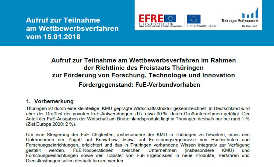 FuE-Verbundvorhaben vom Freistaat Thüringen