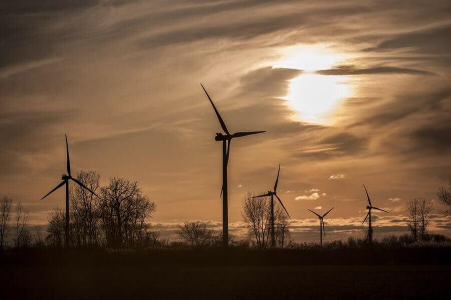 Windpark im Dunklen
