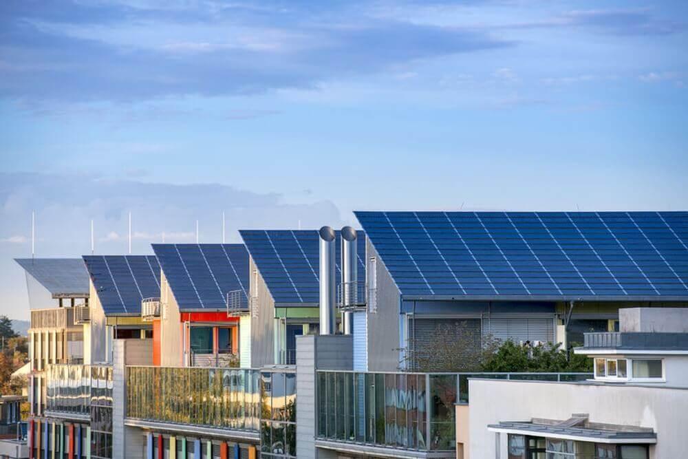 Quartier mit Solar vernetzten Häusern