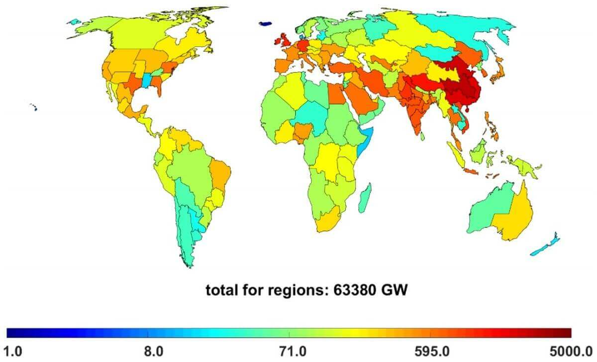 Grafik für weltweite Stromerzeugungskapazitäten für Solar