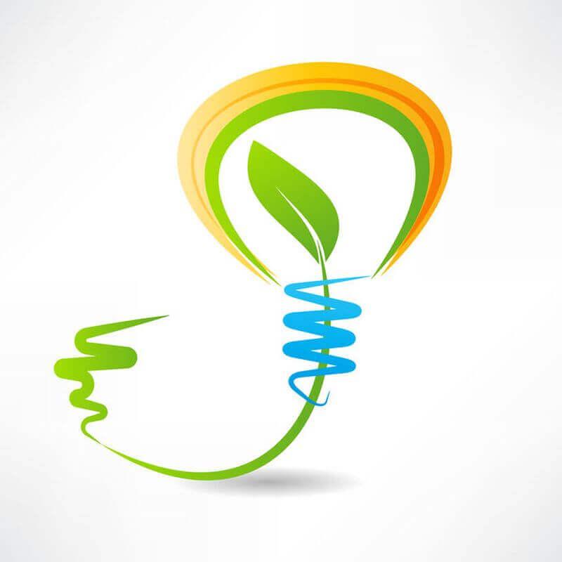 Glühbirne als Symbol für grüne Energie