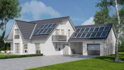 Neubau mit Solaranlage