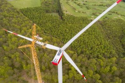 Windkraftanlage wird in Wald gebaut