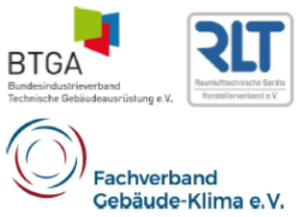 Logos vom Bundesindustrieverband Technische Gebäudeausrüstung e.V. (BTGA), Fachverband Gebäude-Klima e.V. (FGK) und dem Herstellerverband Raumlufttechnische Geräte e.V. (RLT-Herstellerverband)
