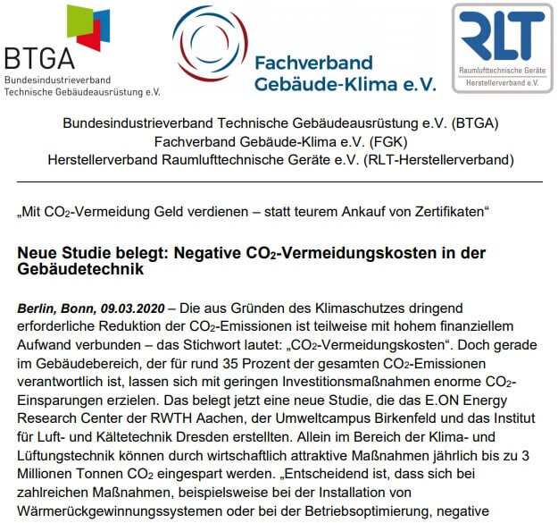 Negative CO2-Vermeidungskosten in der Gebäudetechnik
