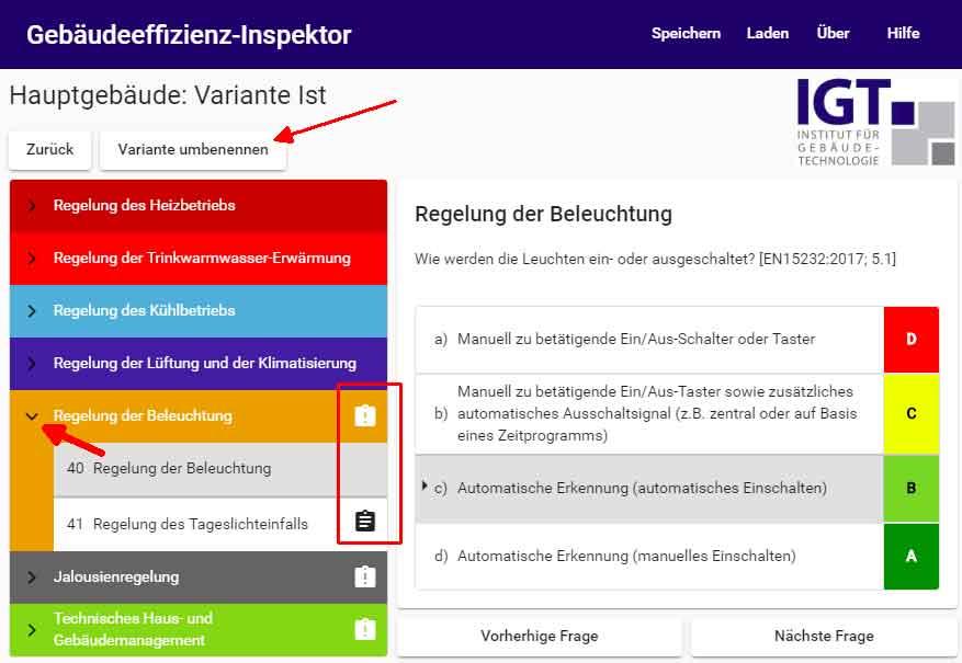 Screenshot Gebäudeeffizienz-Inspektor-Tool