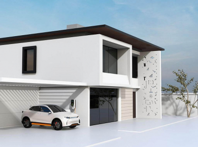Wohnhaus mit Elektroauto-Ladestation
