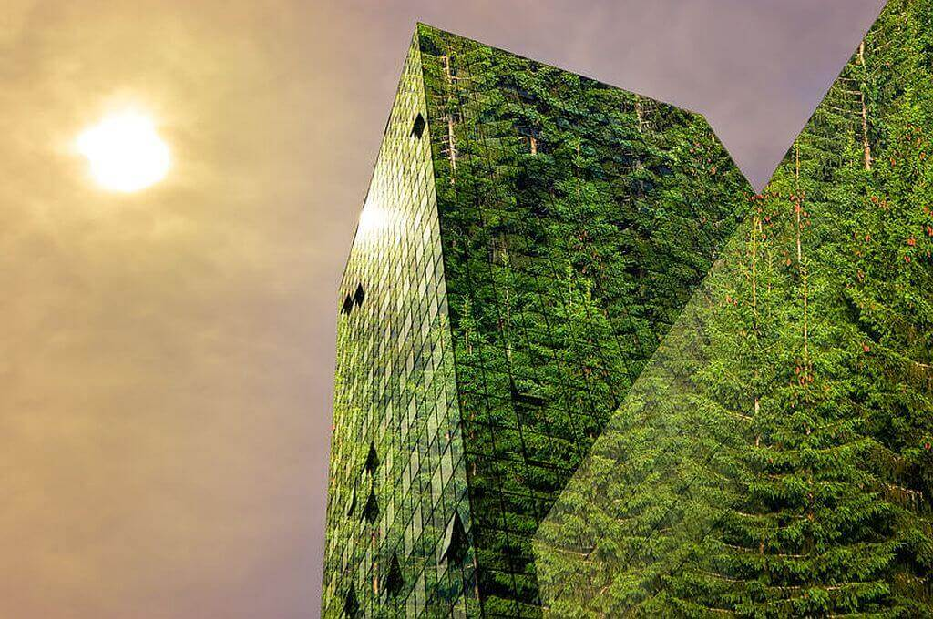 Grünes Bürogebäude